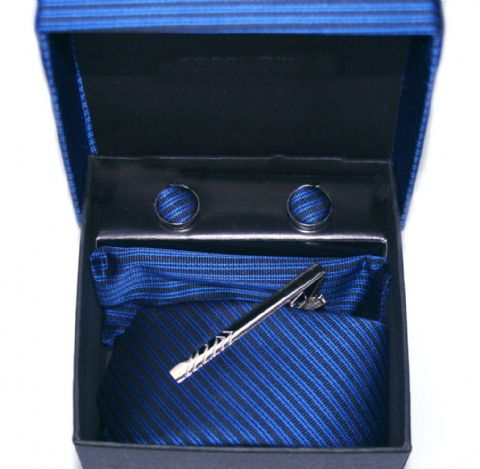 Blue Striped Tie, Cuff Link & Pocket Square Set
